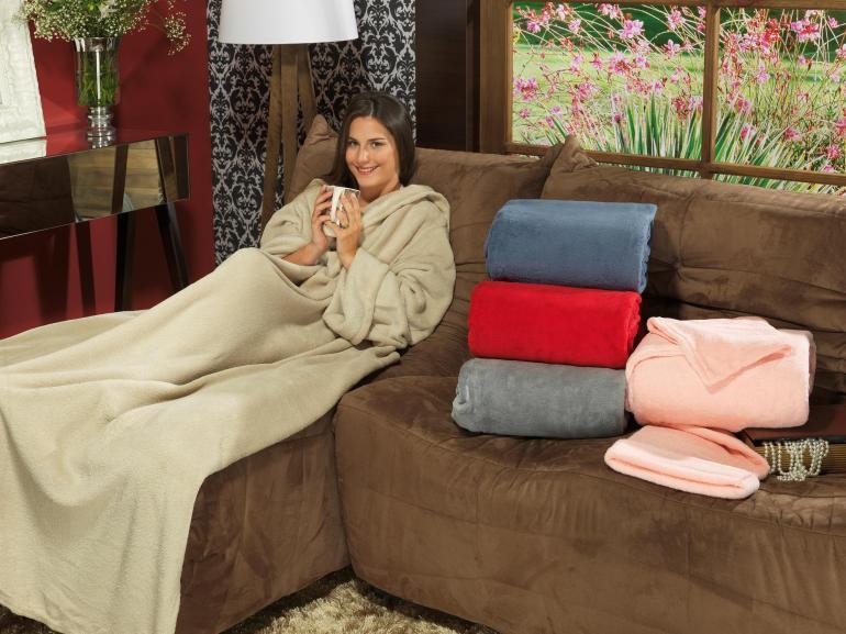 Manta com mangas de sof avulsa de microfibra aconchego for Cobertor para sofa