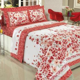 Enxoval Casal com Cobre-leito 7 pe�as 150 fios - Afrodite Vermelho - Dui Design