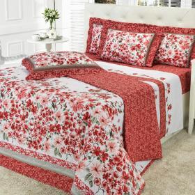 Kit: 1 Cobre-leito Solteiro + 1 Porta-travesseiro 150 fios - Afrodite Vermelho - Dui Design