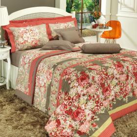 Kit: 1 Cobre-leito King + 2 Porta-travesseiros Percal 180 fios - Aires Vermelho - Dui Design