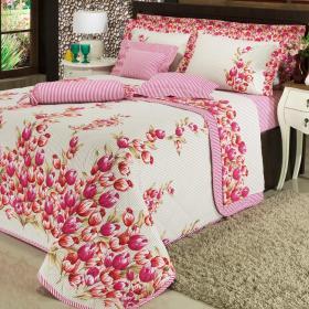 Kit: 1 Cobre-leito Solteiro + 1 Porta-travesseiro 150 fios - Almere Pink - Dui Design