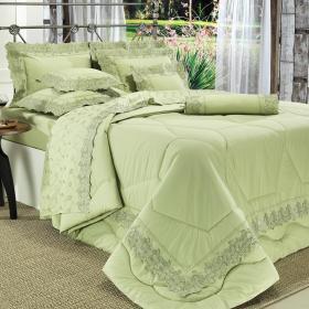 Jogo de Cama Queen Percal 200 fios com Bordado Ingl�s - Amatore Verde - Dui Design