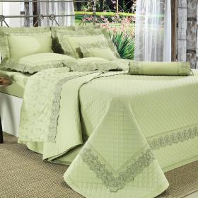 Enxoval Casal com Cobre-leito 7 pe�as Percal 200 fios com Bordado Ingl�s - Amatore Verde - Dui Design