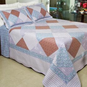 Kit: 1 Cobre-leito Queen PatchWork Bouti de Algod�o  + 2 Porta-travesseiros - Anil - Dui Design