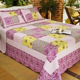 Kit: 1 Cobre-leito King PatchWork Bouti de Algod�o  + 2 Porta-travesseiros - Anisha - Dui Design