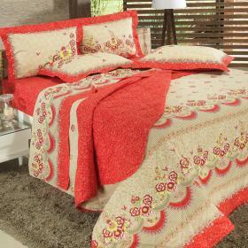 Kit: 1 Cobre-leito Solteiro + 1 Porta-travesseiro 150 fios - Ariela Vermelho - Dui Design
