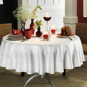 Toalha de Mesa F�cil de Limpar Redonda 160cm - Artesian Branco - Dui Design