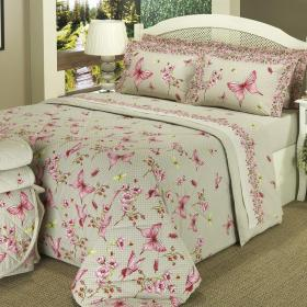 Kit: 1 Cobre-leito Casal + 2 Portas-travesseiro 150 fios - Ashley Vermelho - Dui Design