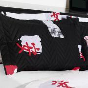 Kit: 1 Cobre-leito Solteiro + 1 Porta-travesseiro 150 fios - Asi�tico Preto e Branco - Kacyumara