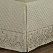 Saia para cama Box Matelassada com Bordado Inglês Queen - Astoria Bege - Dui Design