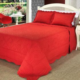 Kit: 1 Cobre-leito Queen Bouti Bordada de Microfibra + 2 Porta-travesseiros - Astoria Vermelho - Dui Design