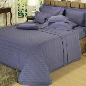 Kit: 1 Cobre-leito King + 2 porta-travesseiros Cetim 500 fios - Axcel Jeans - Dui Design