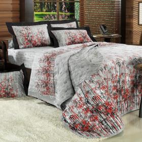 Kit: 1 Cobre-leito King + 2 Porta-travesseiros Percal 200 fios - Bamboo Cinza - Dui Design