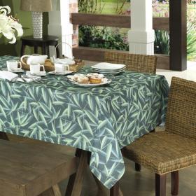 Toalha de Mesa Retangular 6 lugares 140x210cm - Bamboo Petr�leo - Dui Design