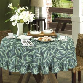 Toalha de Mesa Redonda 160cm - Bamboo Petr�leo - Dui Design