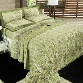 Jogo de Cama Queen Percal 200 fios - Bamboo Verde - Dui Design