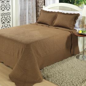 Kit: 1 Cobre-leito King Bouti Bordada de Microfibra + 2 Porta-travesseiros - Barcelos Caf� - Dui Design