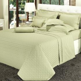Enxoval Casal com Cobre-leito 7 pe�as Cetim 500 fios - Bartolo Verde - Dui Design