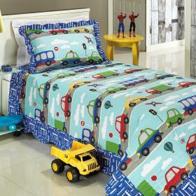 Kit: 1 Cobre-leito Solteiro Kids Bouti de Microfibra PatchWork + 1 Porta-travesseiro - Beep Azul - Dui Design