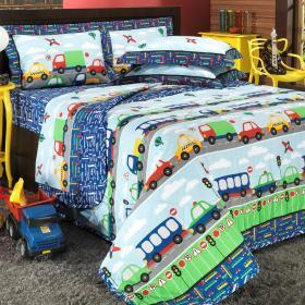 Kit: 1 Cobre-leito Casal + 2 Porta-travesseiros Percal 180 fios - Beep Azul - Dui Design