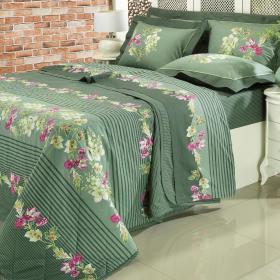Kit: 1 Cobre-leito Solteiro + 1 Porta-travesseiro 150 fios - Belina Verde - Dui Design