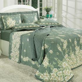 Kit: 1 Cobre-leito Casal + 2 Porta-travesseiros Percal 180 fios - Berenice Verde - Dui Design