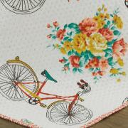 Kit: 1 Cobre-leito Casal Bouti de Microfibra Ultrasonic Estampada + 2 Porta-travesseiros - Bike Vintage - Dui Design