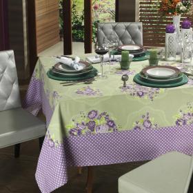Toalha de Mesa com Barra Aplicada Retangular 6 Lugares 160x220cm - Bouquet Lil�s - Dui Design