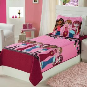 Kit: 1 Cobre-leito Bouti Solteiro Infantil + 1 Porta-travesseiro Microfibra - Fashion Meninas - Trisoft