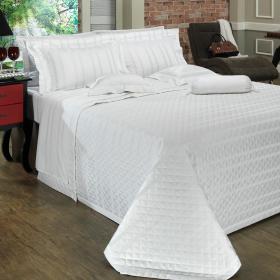 Kit: 1 Cobre-leito Solteiro + 1 porta-travesseiro Cetim 500 fios - Bruxelas Branco - Dui Design