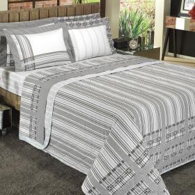 Kit: 1 Cobre-leito Solteiro + 1 Porta-travesseiro Percal 200 fios - Caio Cinza - Dui Design