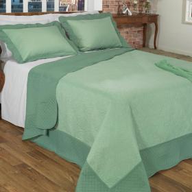 Kit: 1 Cobre-leito Queen Bouti de Microfibra Ultrasonic + 2 Porta-travesseiros - Campana Verde - Dui Design