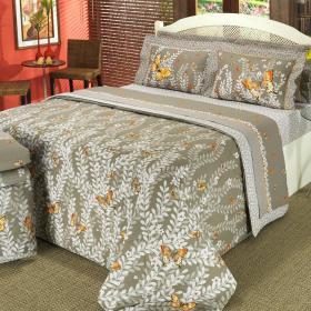 Kit: 1 Cobre-leito Solteiro + 1 Porta-travesseiro 150 fios - Campo Caqui - Dui Design