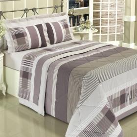 Kit: 1 Cobre-leito Casal + 2 Portas-travesseiro 150 fios - Capri Albergine - Dui Design