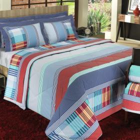 Kit: 1 Cobre-leito Casal + 2 Portas-travesseiro 150 fios - Capri Azul - Dui Design
