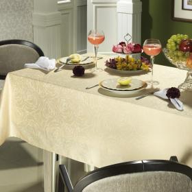 Toalha de Mesa F�cil de Limpar Quadrada 4 Lugares 160x160cm - Carly Champagne - Dui Design