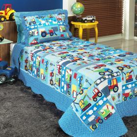 Kit: 1 Cobre-leito Solteiro Kids Bouti de Microfibra PatchWork + 1 Porta-travesseiro - Carrinhos Marinho - Dui Design