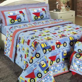 Kit: 1 Cobre-leito Casal + 2 Portas-travesseiro 150 fios - Carros Azul - Dui Design
