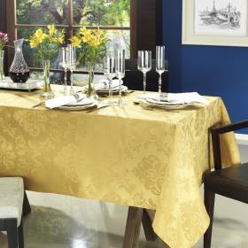 Toalha de Mesa F�cil de Limpar Quadrada 4 Lugares 160x160cm - Castelany Dourado - Dui Design