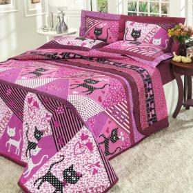 Kit: 1 Cobre-leito Solteiro + 1 Porta-travesseiro Percal 180 fios - Cat Purpura - Dui Design