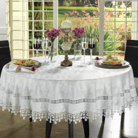 Toalha de Mesa com Bordado Guipir F�cil de Limpar Redonda 180cm - Charme Branco - Dui Design