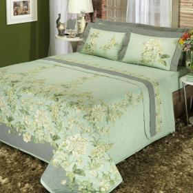 Edredom Queen Percal 200 fios - Charme Herbal - Dui Design