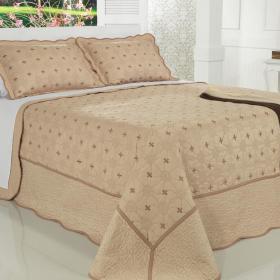 Kit: 1 Cobre-leito Casal Bouti Bordada de Microfibra + 2 Porta-travesseiros - Chennai Frape - Dui Design