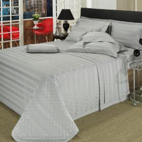 Kit: 1 Cobre-leito King + 2 porta-travesseiros Cetim 500 fios - Chesty Cinza - Dui Design