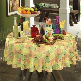 Toalha de Mesa Redonda 160cm - Citrus Laranja - Dui Design
