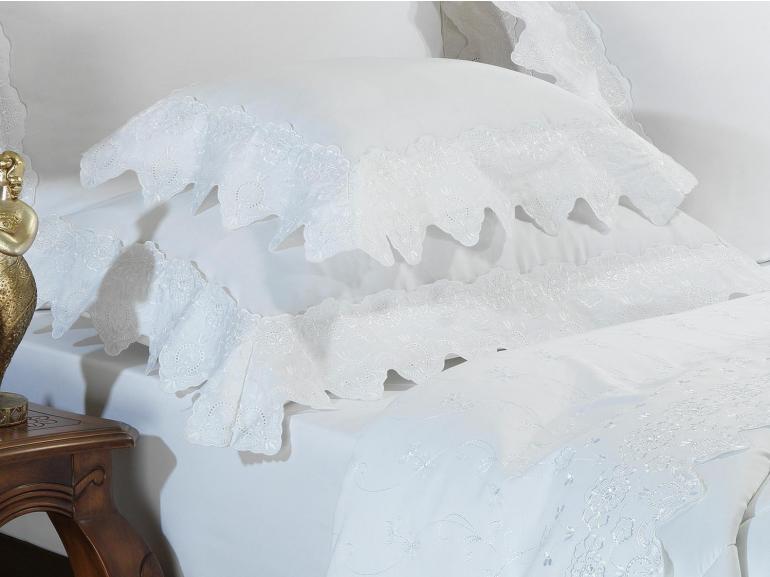Jogo de Cama King Cetim de Algodão 300 fios com Bordado Inglês - Classic Branco - Dui Design