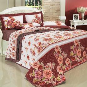 Kit: 1 Cobre-leito King + 2 Porta-travesseiros Percal 200 fios - Collete Vermelho - Dui Design