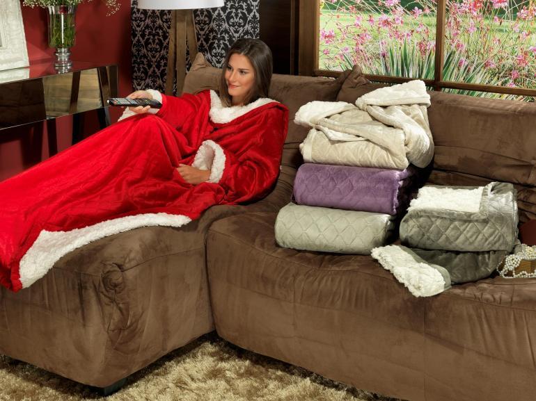 Cobertor com mangas de sof avulsa com efeito pele de for Cobertor para sofa