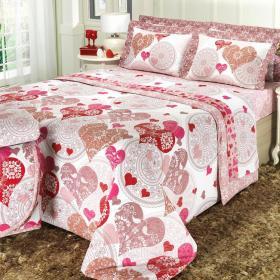 Edredom Casal 150 fios - Cora��o Pink - Dui Design