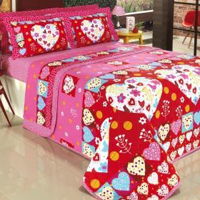 Kit: 1 Cobre-leito Solteiro + 1 Porta-travesseiro 150 fios - Cora��o Vermelho - Dui Design